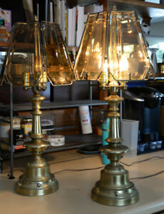 Vintage Brass & Amber Bevelled Glass Lamps from 80s