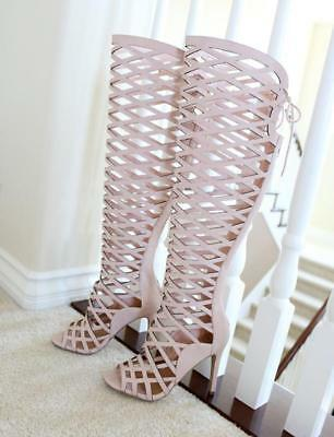 Gladiator Cut-out Cage Peep Toe Stiletto Heel  Over The Knee Hi Boots Sandal pk