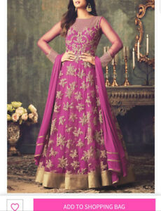 Fuchsia Embroidered Net Indian SEmi-stiched Gown.