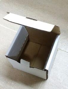 WHITE CORRUGATED BOX 4x4x4 CARTON TAB LOCKING MAIL PARCEL MUG