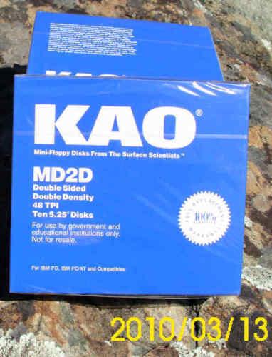 "KAO 5 1/4""(5.25"") NEW BLUE BOX 10 DSDD Disk Floppy for Atari 800/XL/XE"