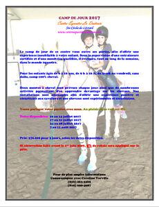 Camp de jour équestre, cours, cheval, vacance, équitation, centr