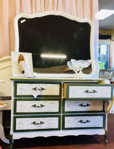 Hand Painted Dresser, Mirror and Headboards