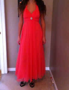 Coral chiffon prom dress
