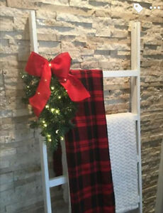 Rustic White Blanket Ladder with Christmas Greenery and Lights London Ontario image 3