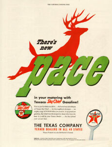 1949 full page color ad for Texaco Sky Chief Gasoline