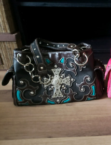 Brown and teal purse