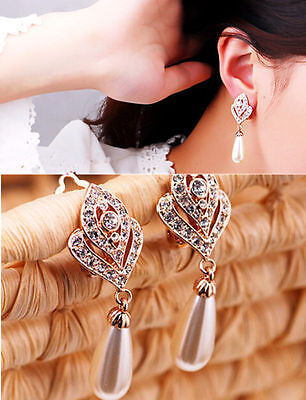 1 Pair Fashion Women Lady Elegant Crystal Rhinestone Ear Stud Earrings Charm *&