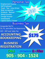 PERSONAL TAX $25 -CORPORATE TAX AND BOOKKEEPING DISCOUNTED RATES
