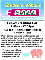 MOM 2 MOM SALE.  TABLES AVAILABLE TO SELL YOUR BABY ITEMS