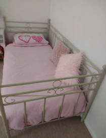 Metal Bed Frame Day Bed OffWhite