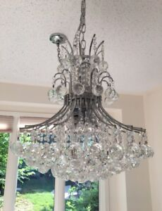 New Chrome and Crystal Chandalier