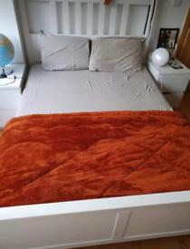 Ikea Hemnes double bed + mattress + 2 bedside tables