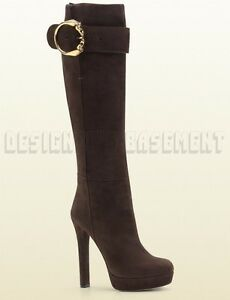 GUCCI-brown-37-Nubuck-JOSEPHINE-Horseheads-buckle-Platform-boots-NIB-Authentic