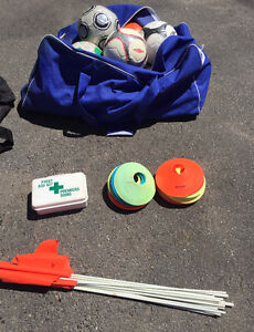 Soccer equipment, nets, pinnies, balls, flags, pylons, playboard