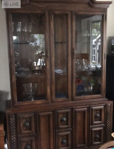 Solid wood hutch and buffet display cabinet
