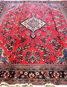 Semi-Antique persian Rug,red carpet,wool,11.7 x 8.7 ft,hand made