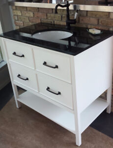 "SOLID WOOD 36"" BATHROOM CABINET / VANITY + GRANITE TOP + SINK"