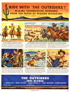 1950 large full-page magazine ad for MGM western The Outriders