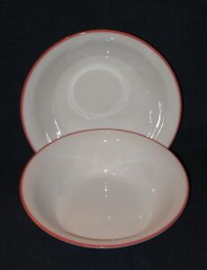 Corelle / Corningware Red Band Cereal Bowls - Set of 2