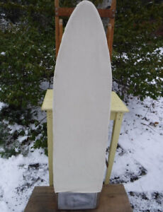 VINTAGE WOOD IRONING BOARD WITH GALVANIZED IRON REST & COVERS