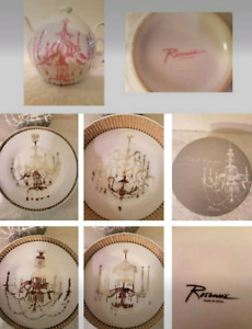 Rosanna Brand New Chandelier Teapot and 4 Plates