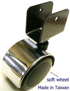 oajen 2 50mm chrome chair caster soft wheel pack of 4 1