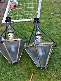 Very large pair ceiling mounted hanging brass Victorian style lamps