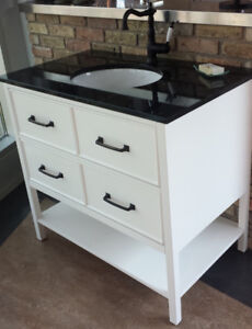 BATHROOM VANITY / CABINET SOLID WOOD, COUNTER, FAUCET, BATHTUB