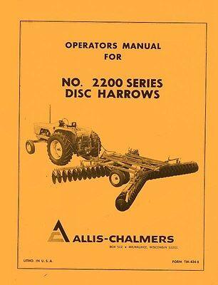 Allis Chalmers No. 2200 Series Disc Harrow Operators Manual Ac