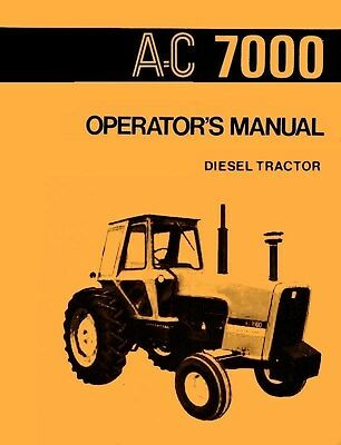 Allis Chalmers 7000 Diesel Tractor Owner Operators Manual Ac