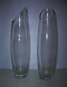Vases (qty 2) modern, clear glass