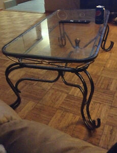 Glass coffee & end table set