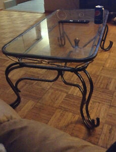 Glass coffee table set with end tables