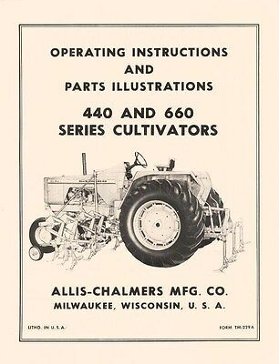 Allis Chalmers 440 660 Cultivator Operators Manual