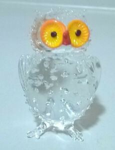 Miniature Crystal Clear Glass Owl Figurine with Wide Eyes