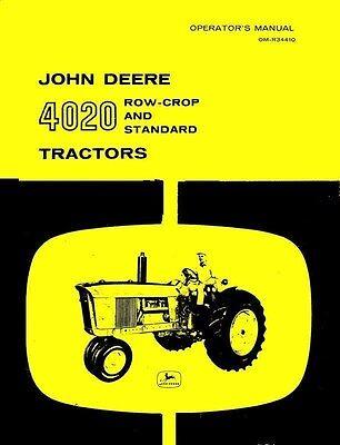 John Deere 4020 Row Crop And Standard Tractor Operators Manual Before Sn 90999