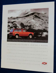 1992 CHEVY S-BLAZER 4 X 4 TRUCK / SUV AD - RETRO ANONCE CAMION