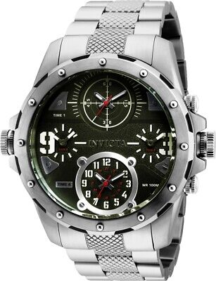 Invicta Mens 50MM Coalition Forces Speical Ops Quad Time Dial SS Bracelet Watch