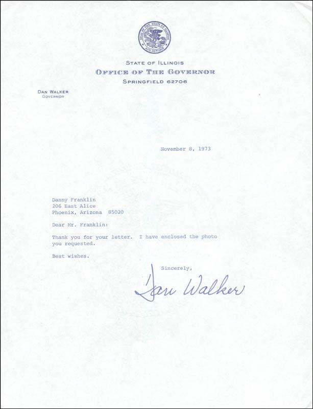 DAN WALKER - TYPED LETTER SIGNED 11/08/1973