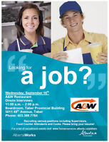 Taber A&W Employer Connection - Various Positions!