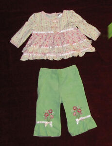 Baby girl top with pants, 6-9 months.