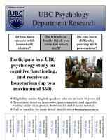 Seeking Participants for UBC Psychology Study! Earn up to $60!