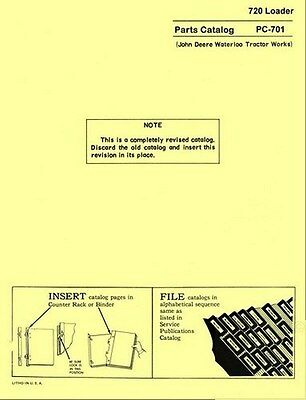John Deere Model 720 Loader Parts Manual Catalog Jd 701