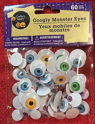 CRAFTER'S SQUARE MONSTER GOOGLY EYES 60pc MULTI-COLORS~ASSORTED SIZES HALLOWEEN (Halloween Coloring Squared)