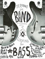 Serious Band Search for Bassist and Drummer