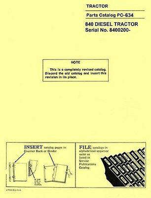 John Deere Model 840 Diesel Tractor Sn. 8400200 And Above Parts Manual Catalog