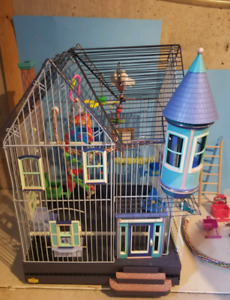 House Style Bird Cage with accessories