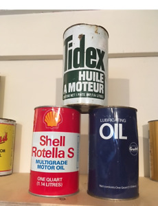 Lot of 3 Full Oil Cans ~Shell ~ Gulf ~ Tidex Qts