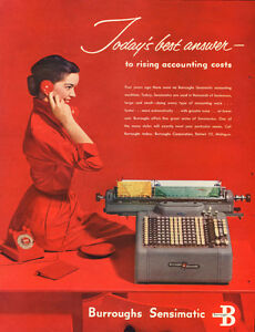 1953 large color magazine ad for Burroughs Office Equipment